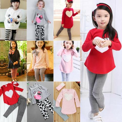 2PCS Girls Outfits Clothes Sleeve Tops Pants Set