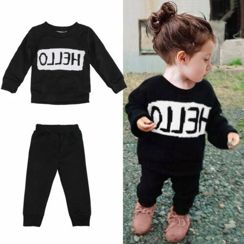2pcs Kids Baby Outfits T-shirt Tops+Pants