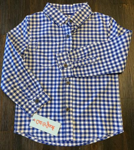 4t blue and white plaid long sleeve