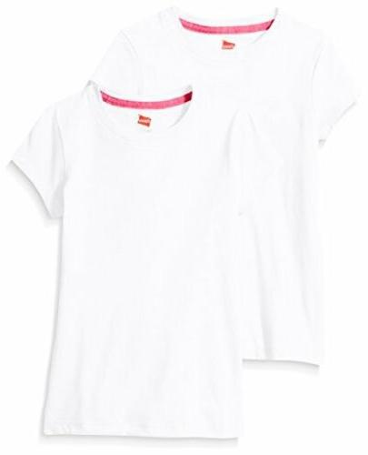 Hanes Little Girls' Jersey Cotton Tee , White, X-Large