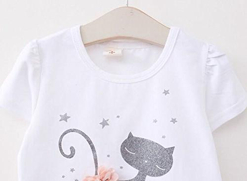 Avidqueen Toddler Girls Long Sleeve and Outfit Cat 2/White)