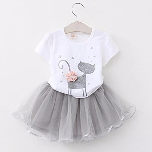 Avidqueen Toddler Baby Girls Clothes Sleeve T-Shirt Cat 2/White)