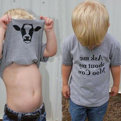 Ask Me About My Moo Cow T Shirt Funny Animal Flip Shirt Baby