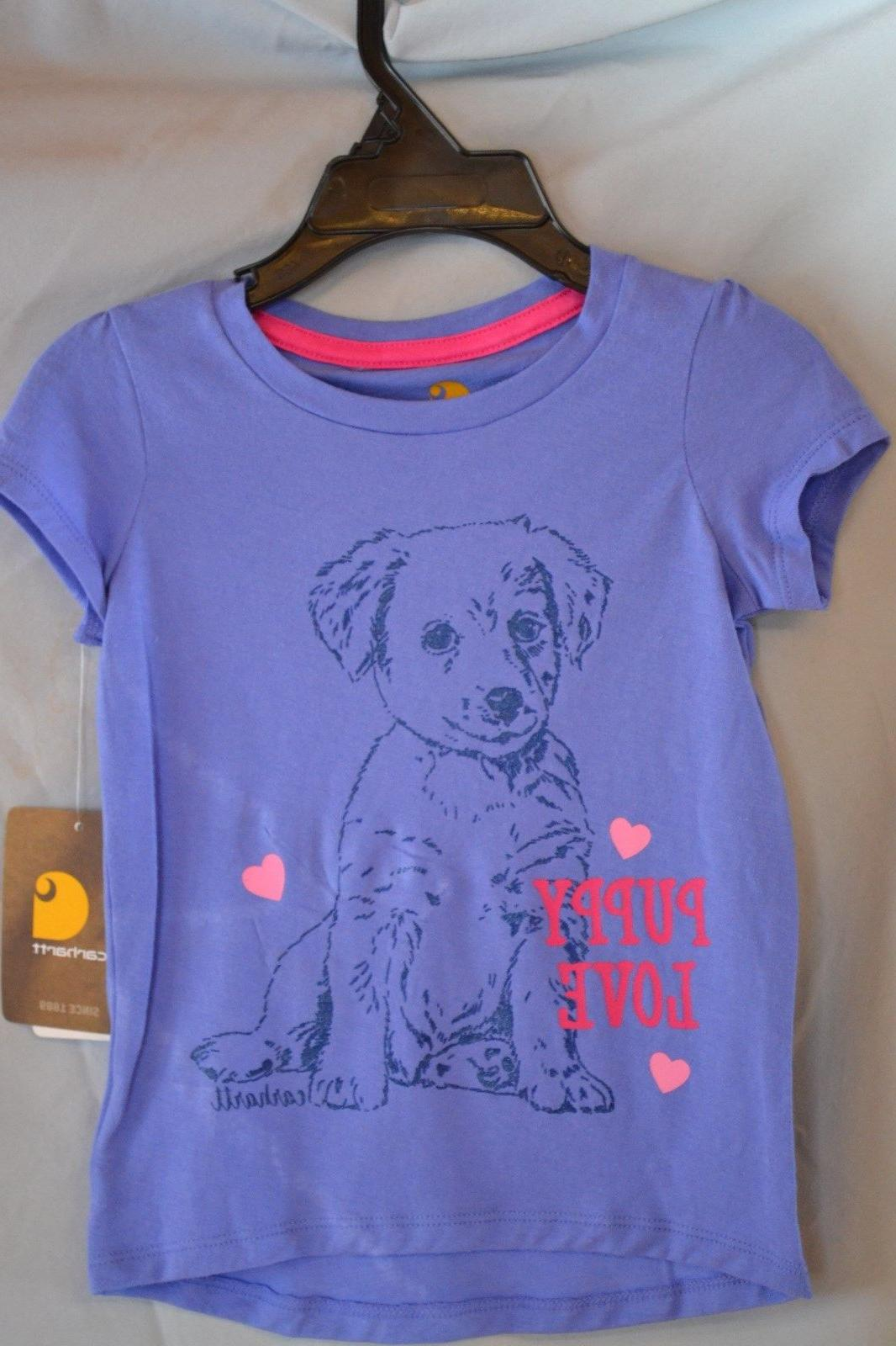 "Carhartt Blue T-Shirt ""Puppy Love"" Girls/Kids/Youth CA9482 N"