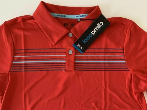 Adidas Stripe Golf Polo Red Multi XL