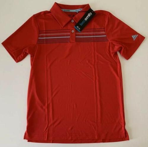 boys climacool chest stripe golf polo red
