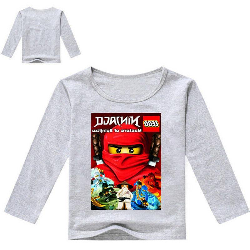 Boys Girls Ninjago Cartoon Long Sleeve T-shirt Spring Fall Cotton Clothing