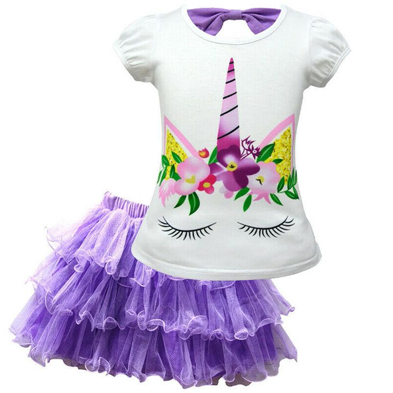 Kid Baby Unicorn Pattern Tutu Dress Outfit 2Pcs