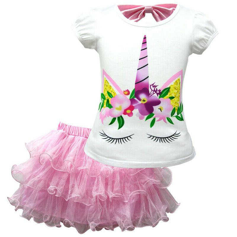 Kid Baby Unicorn Pattern T-Shirt + Tutu Dress Skirt Party Outfit 2Pcs