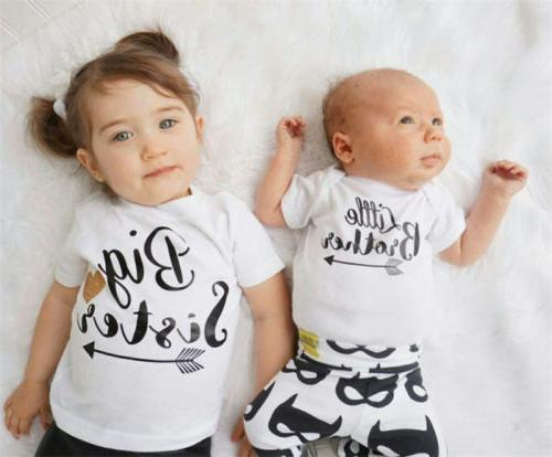 US Kids Baby Boy Big Sister Little Brother Matching Romper B