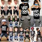 USA Kids Baby Boys Camo Denim Outfits Tops T-shirt Pants Tro