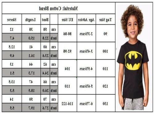 Kids Boys Spiderman Batman Casual Short Sleeve Shirts