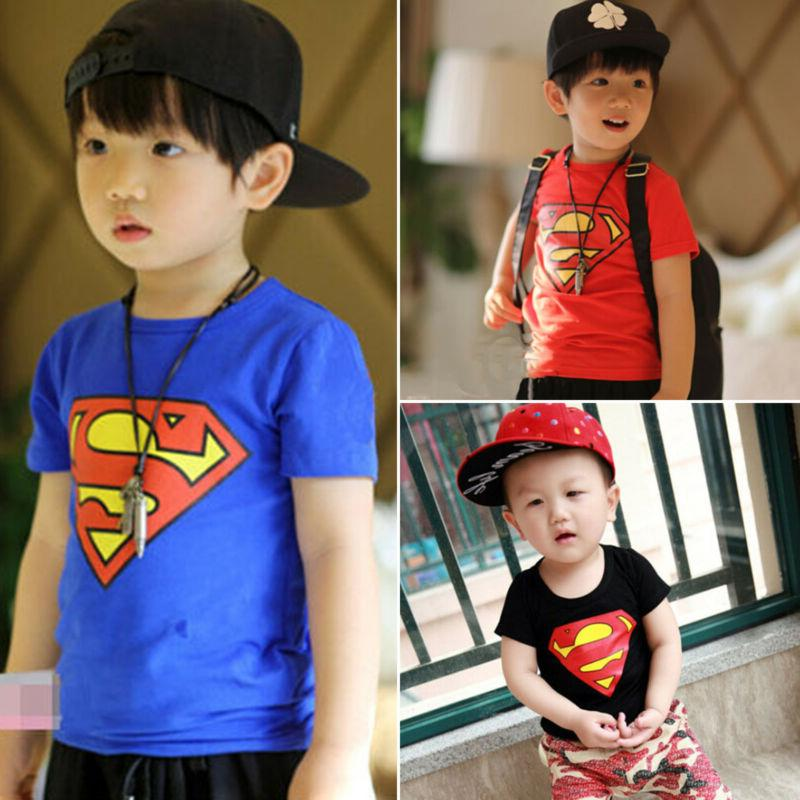 Kids Boys Cartoon T-Shirt Round Short Sleeve Tops