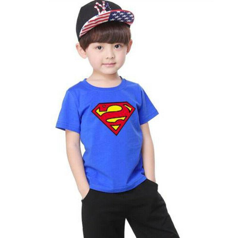 Kids Cartoon T-Shirt Neck Short Casual Tops