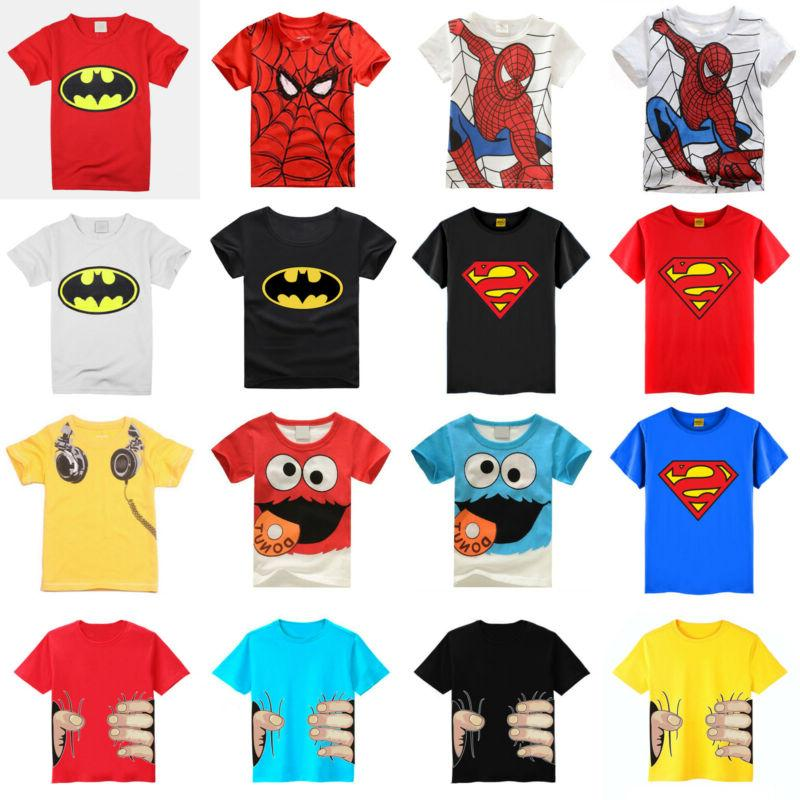 kids boys girls cartoon t shirt round