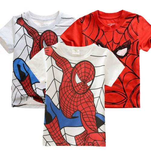 Kids Superman Spiderman Batman T-Shirt Casual Short Sleeve Shirts Tops