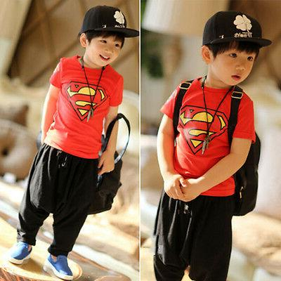 Kids Superman Batman T-Shirt Casual Short Sleeve