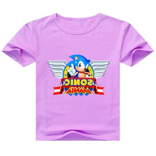 Kids Cartoon Sonic the Hedgehog Round Neck T-shirt for Short Clothes