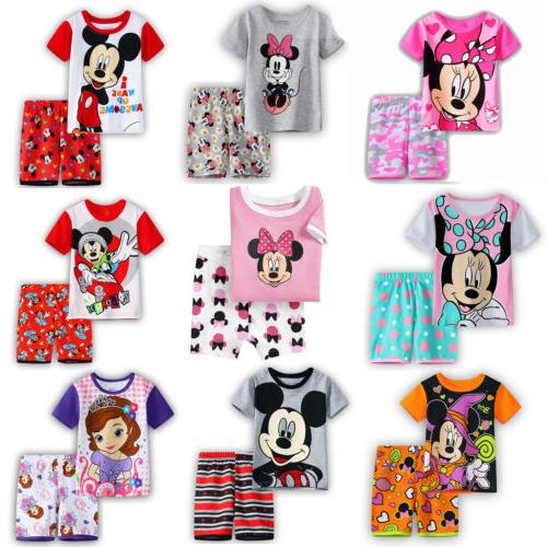 Kids Girls Boys Disney Minnie Pajama 2PCS Sleepwear T-Shirt