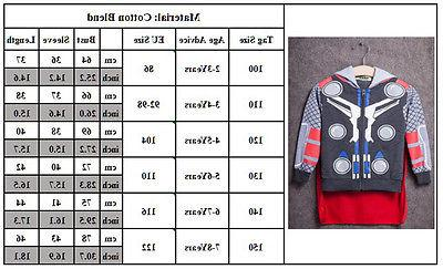 Kids Boys Superhero Hoodie Coat Sweatshirt 2Pcs Clothes