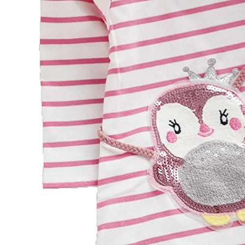 Colorful Cotton Tees Kids Long Stripe Casual Tops Pink