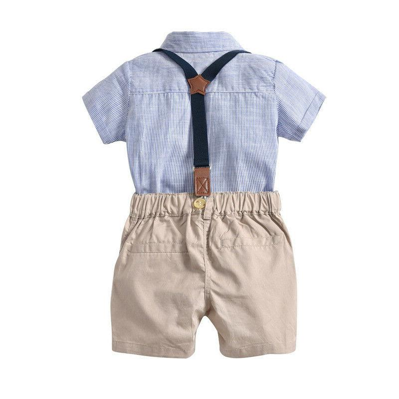 Bowtie Newborn Boys Romper Pants Bodysuit Clothes Gentleman Shirt
