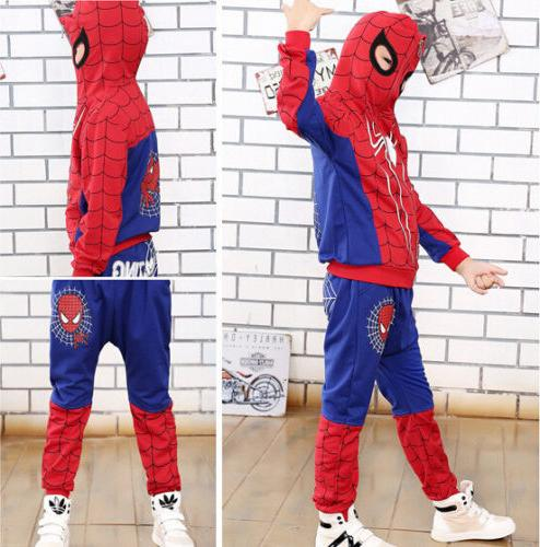 Spiderman Kids Tracksuit T-Shirt Outfits