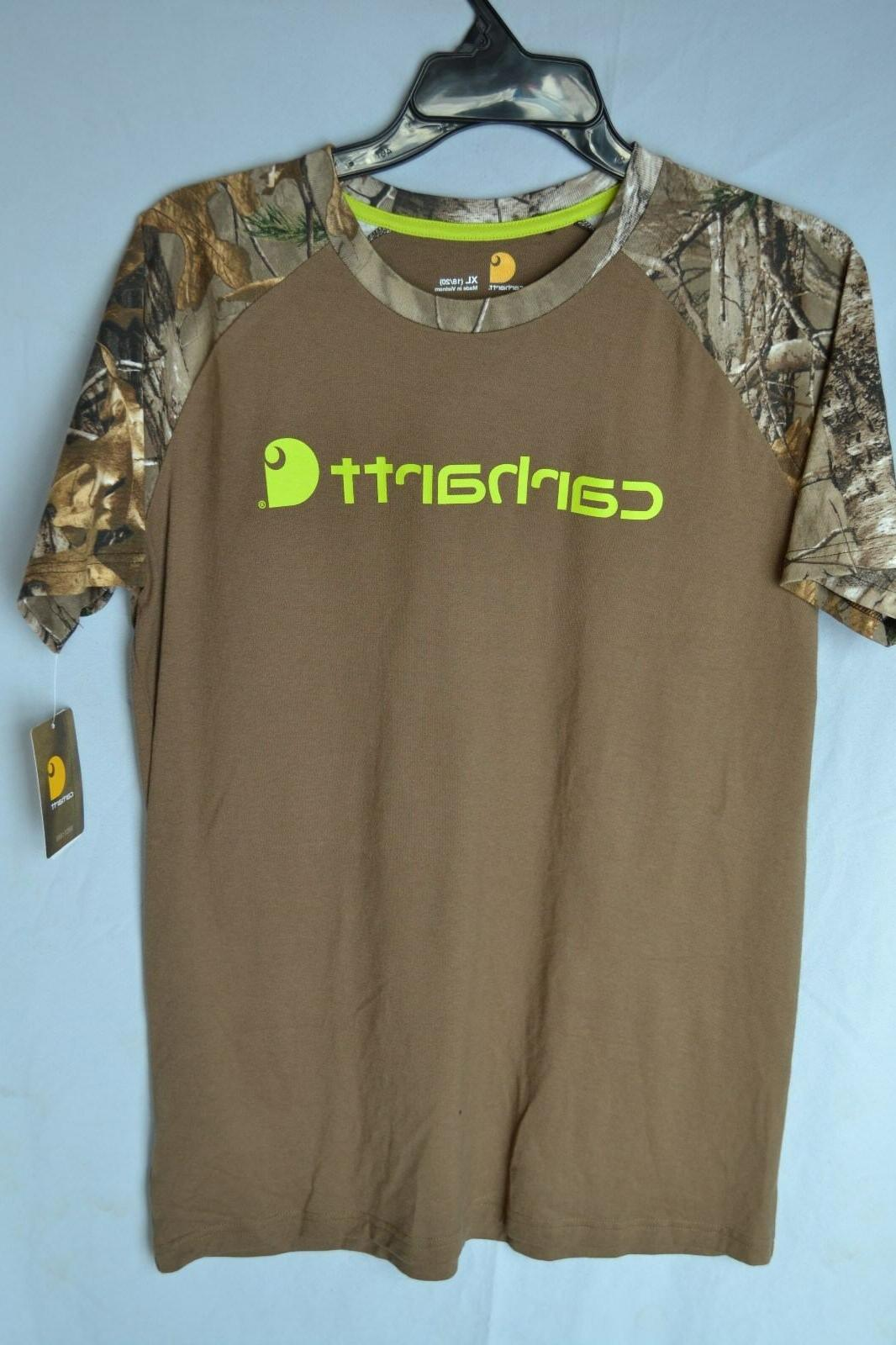 Carhartt T-Shirt CA8665 Brown w/ Camo Sleeves Boys/Kids/Yout