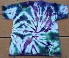 Tie Dye T-Shirt Youth L Purple Ripple Gildan Ultra Cotton ki
