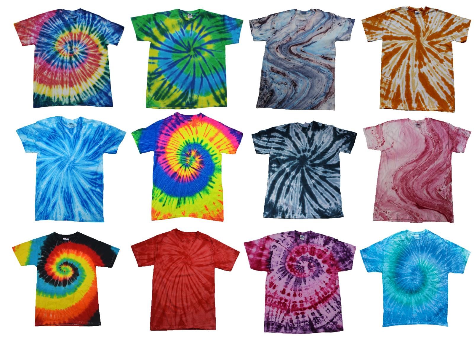 Tie Dye T-Shirts Multi-Color Kids & Adult Short Sleeve Cotto