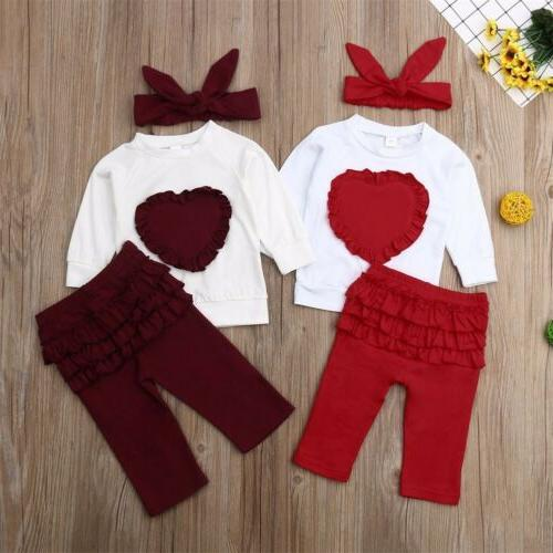 Toddler Baby Kids Clothes T-shirt Leggings Outfits 3PCS Sets USA