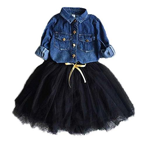 toddler girls clothing sets kids denim shirt
