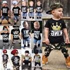 Canis Toddler Kids Baby Boys Camo Denim Outfits Tops T-shirt