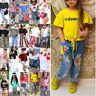 Toddler Kids Baby Girls T-shirt Tops + Pants Jeans Outfit Se
