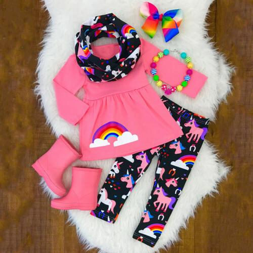 Toddler Kids Baby Girl Unicorn Clothes Tops T shirt + Pants