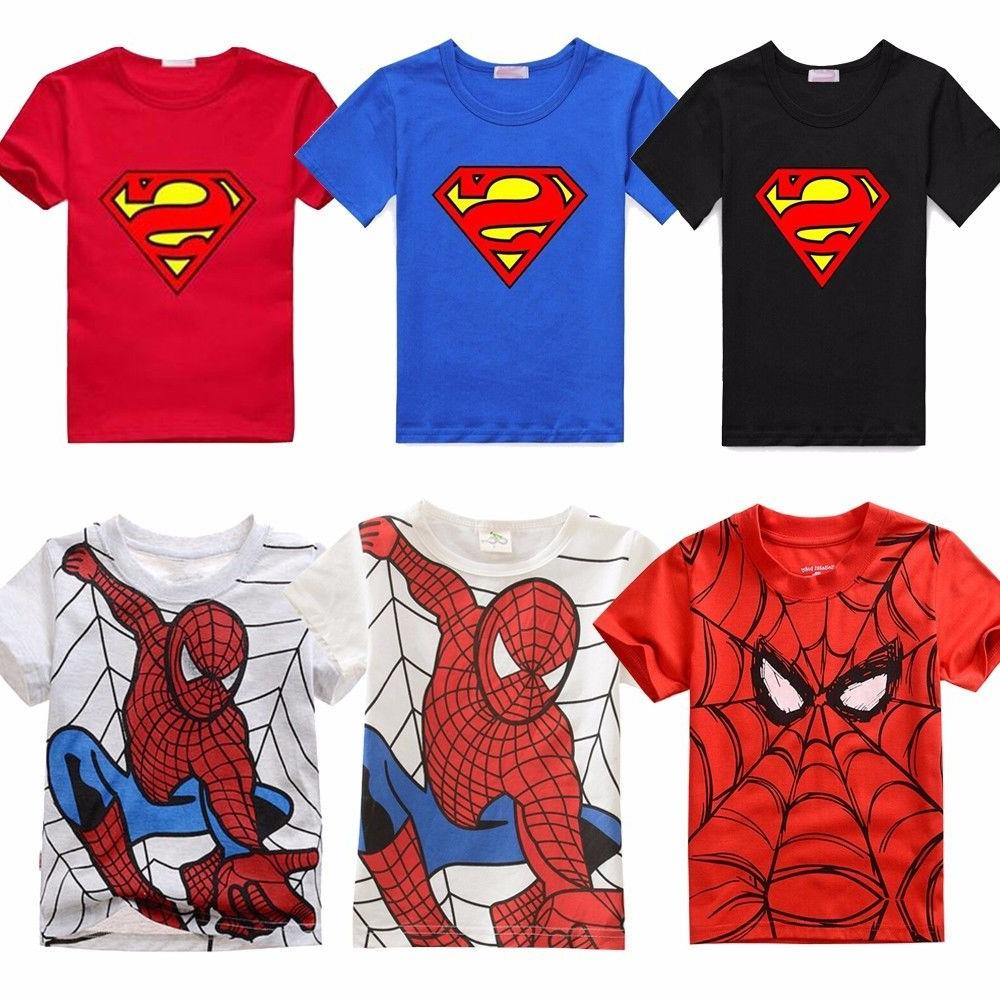 Toddler Kids Short Sleeve T-shirt Batman Spiderman