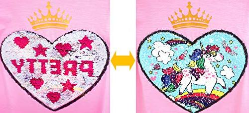 Unicorn Heart Girl's T-Shirt Short/Long 3-12 Years