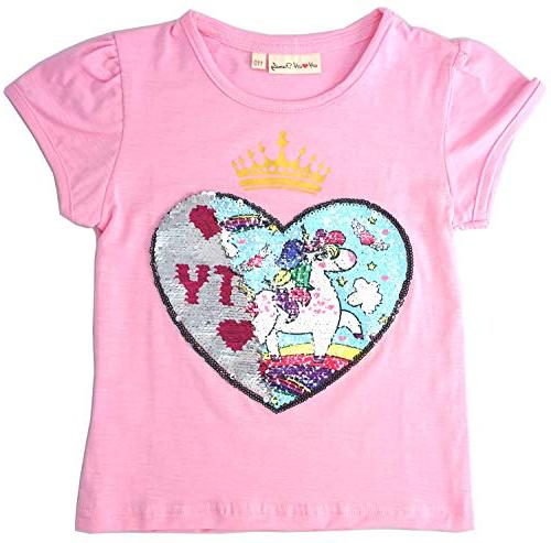 unicorn flip heart sequin girls t shirt