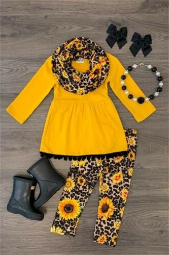 US Child Girls Clothes Long Sleeve T Pants Sets