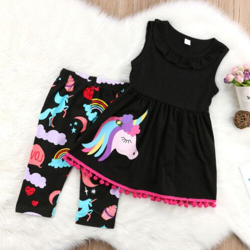 US Cotton Unicorn Kids Baby Outfit T-shirt Tops Dress+Shorts