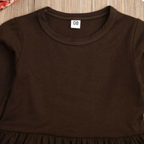 US Kids Baby Girls Sleeve Thanksgiving Turkey T-shirt+Pants