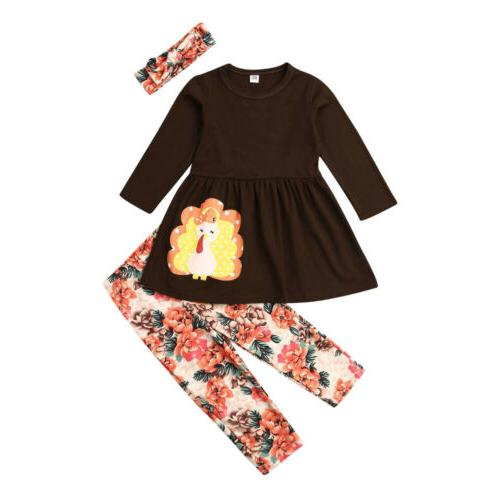 US Kids Toddlers Girls Long Turkey T-shirt+Pants