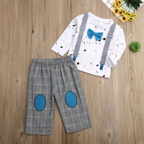 US Kids Boys Clothes Long Sleeve T-shirt Bodysuit+Pants