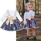 US Newborn Kids Baby Girl Top T-shirt Suspender Skirt Dress