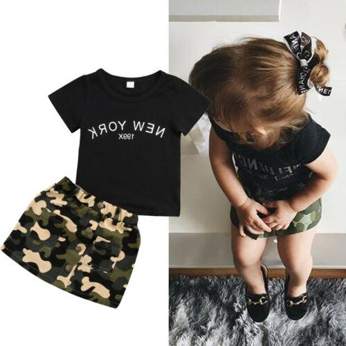 US CANIS Toddler Kid Baby GirlS Top T-shirt Short Skirts Cam