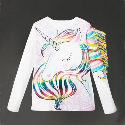 US Toddler Kids Girls Pattern Unicorn Long Sleeve Tops T-shi