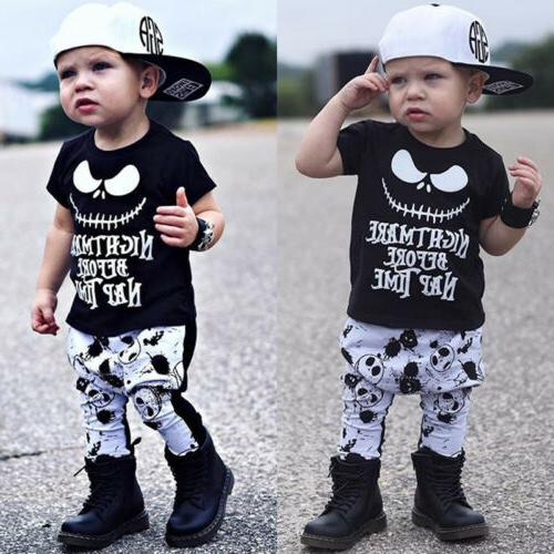 USA Canis Toddler Kids Baby Boys Skull Halloween Cotton T-sh