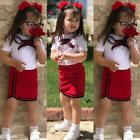 USA Canis Toddler Kids Baby Girls Bow Flower Tie Tops T-shir