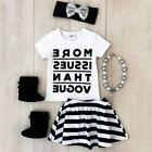 Canis USA Toddler Kids Baby Girls Tops T-shirt Striped Dress