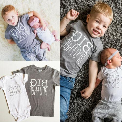 USA Toddler Kids Boys Baby Girls Big Brother Sister Tops T-s